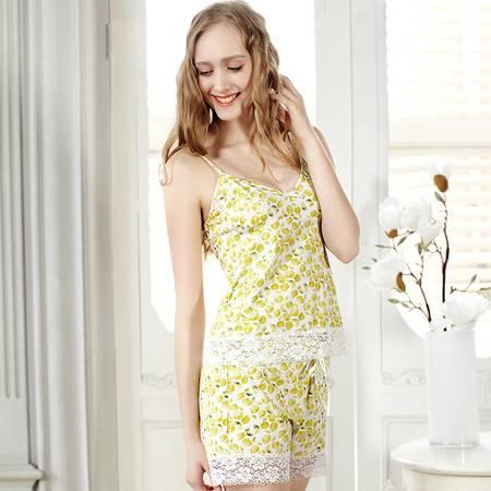 樱桃派清新柠檬印花60支精梳棉吊带短裤家居服套装女