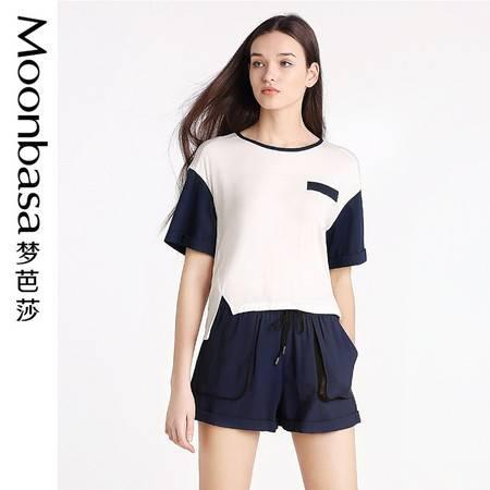 Moonbasa/梦芭莎欧美休闲女装宽松针织拼接梭织随性圆领短袖T恤