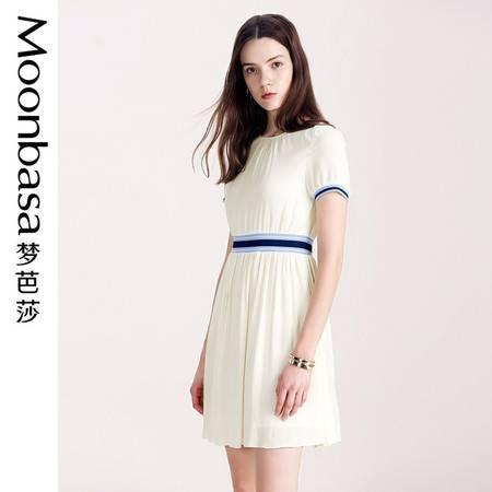 Moonbasa/梦芭莎优雅浪漫拼撞色罗纹收腰短袖连衣裙
