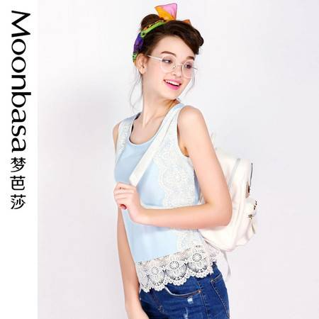 Moonbasa/梦芭莎日韩时尚立体花朵蕾丝拼接梭织圆领无袖衬衫 女