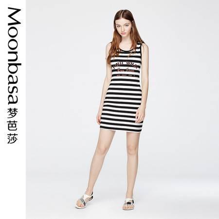 Moonbasa/梦芭莎欧美直筒柔软舒适无袖圆领针织条纹印花连衣裙