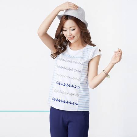 Moonbasa/梦芭莎百搭航海风亲肤弹力棉质圆领条纹印花短袖T恤 女