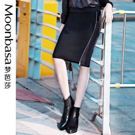 ING2ING欧美时尚腰头拼接PU织带侧开拉链直筒包裙半身短裙