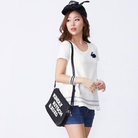 Moonbasa/梦芭莎日韩纯色A型条纹假口袋棉质显瘦短袖女衬衫送胸针