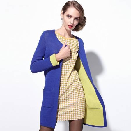 梦芭莎女装2015春装新款撞色中长百搭毛衣针织衫外套46411330