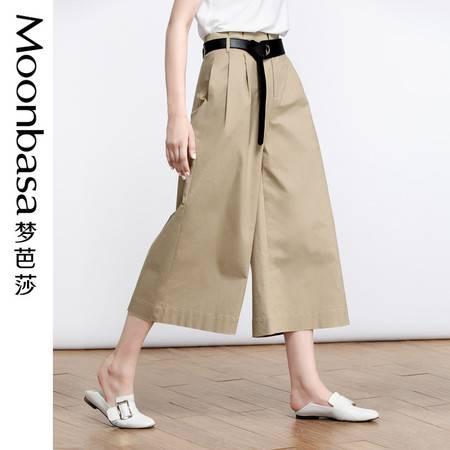 Moonbasa/梦芭莎简约腰带腰部缝褶阔腿八分裤(配送腰带)