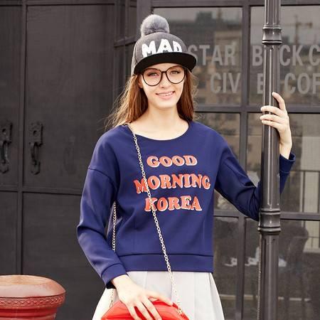 Moonbasa/梦芭莎日韩时尚趣味字母印花圆领九分袖短款衬衫 女