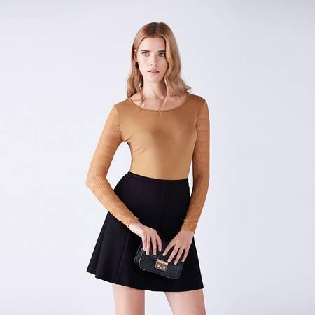 梦芭莎 时尚简洁圆领修身显瘦针织拼接长袖打底T恤