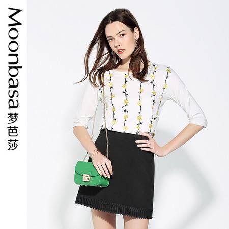 Moonbasa/梦芭莎优雅波点印花落肩七分袖直身型T恤