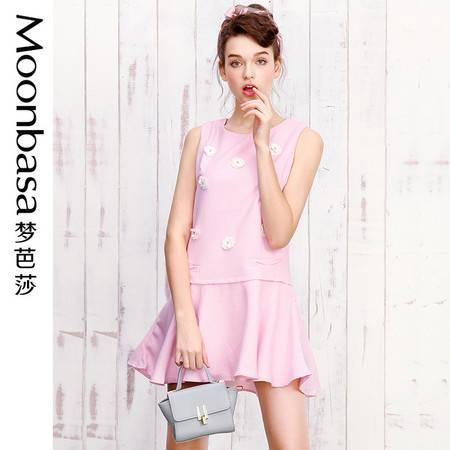 梦芭莎 甜美圆领修身显瘦立体钉花假两件拼接荷叶连衣裙