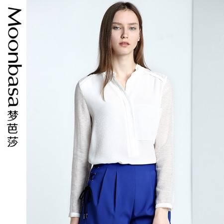 Moonbasa/梦芭莎欧美休闲女装宽松梭织开门筒领子长袖衬衫女