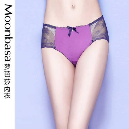 Moonbasa/梦芭莎绚丽多彩蕾丝性感网纱拼接舒适平角内裤 女