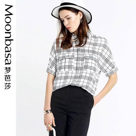 Moonbasa/梦芭莎风口袋装饰宽松五分蝙蝠袖格子衬衫