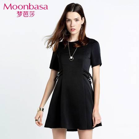 Moonbasa/梦芭莎时尚优雅职业OL气质针织三分袖腰侧边收腰连衣裙