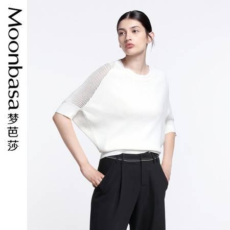 Moonbasa/梦芭莎宽松型平纹与镂空拼接蝙蝠中袖圆领套头毛衫