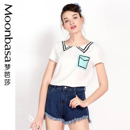 梦芭莎 日韩马卡龙色涂鸦领口袋印花短袖修身显瘦T恤女