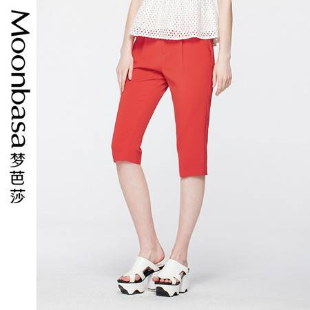 Moonbasa/梦芭莎时尚撞色腰头修身显瘦七分窄脚铅笔休闲裤女