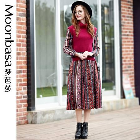 Moonbasa/梦芭莎欧韩时尚高领兔毛衣背心波西米亚风两件套连衣裙