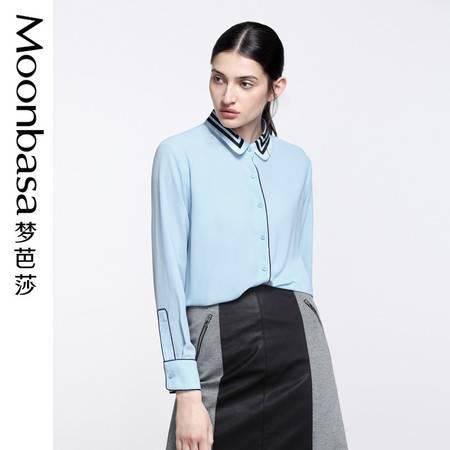 Moonbasa/梦芭莎OL宽松型领子撞色条纹印花撞色织带长袖衬衫
