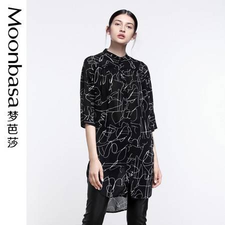 Moonbasa/梦芭莎抽象线条印花宽松型中袖长款衬衫