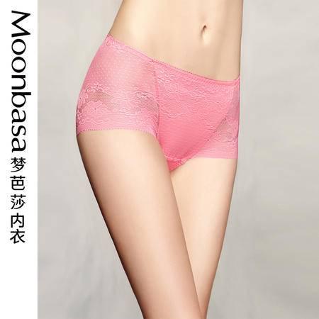 Moonbasa/梦芭莎情迷都市全蕾丝性感女士中腰平角收腹提臀内裤