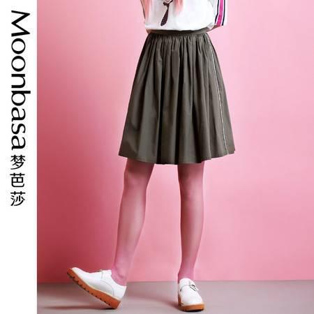 Moonbasa/梦芭莎 韩伊儿高支高密棉感侧边炫彩织带装饰大摆半裙