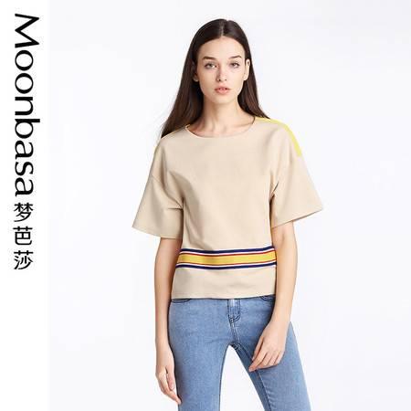 Moonbasa/梦芭莎欧美休闲女装宽松针织拼接罗纹圆领短袖小衫T恤女