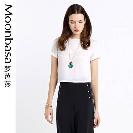 Moonbasa/梦芭莎优雅圆领后背镂空短款短袖折边T恤女