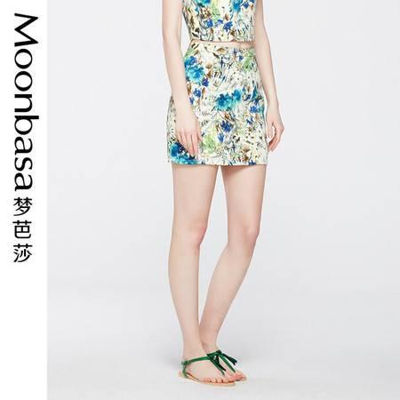 Moonbasa/梦芭莎欧美休闲修身显瘦棉印花舒适包臀半身短裙女