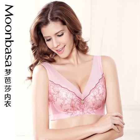 Moonbasa/梦芭莎刺绣背心薄模杯塑身收副乳丰满大胸文胸内衣胸罩