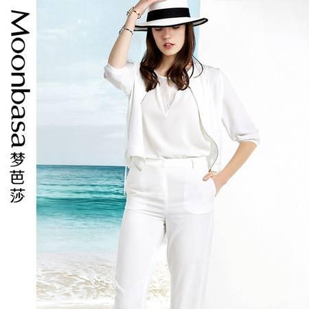 Moonbasa/梦芭莎拼花边抽绳碎褶荷叶浪七分袖小外套