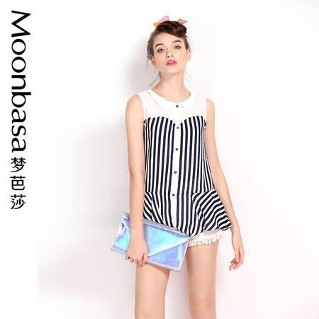Moonbasa/梦芭莎日韩海军风条纹拼接雪纺小翻领荷叶边无袖衬衫女