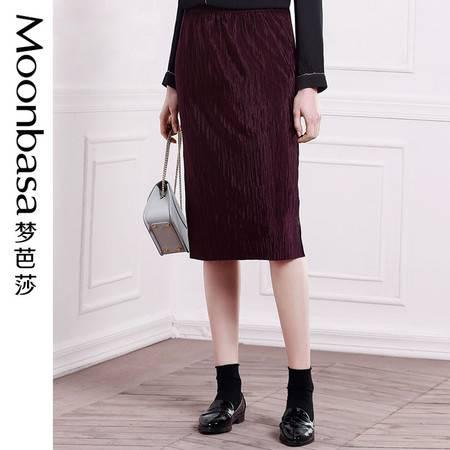 Moonbasa/梦芭莎摩登时尚简约压褶拼接松紧腰头纯色中长款半身裙