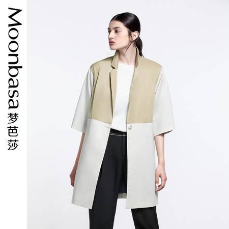 Moonbasa/梦芭莎休闲宽松梭织拼接撞色时尚高街翻驳领中袖风衣