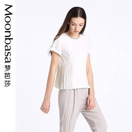 Moonbasa/梦芭莎欧美休闲女装宽松针织拼接压褶圆领短袖小衫T恤