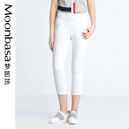 Moonbasa/梦芭莎修身梭织腰头撞料网布休闲七分裤