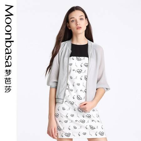 Moonbasa/梦芭莎欧美休闲女宽松梭织运动圆领中袖外套防晒短外套