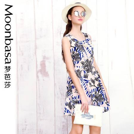 Moonbasa/梦芭莎日韩夏威夷花朵印花高腰修身显瘦A摆无袖连衣裙夏