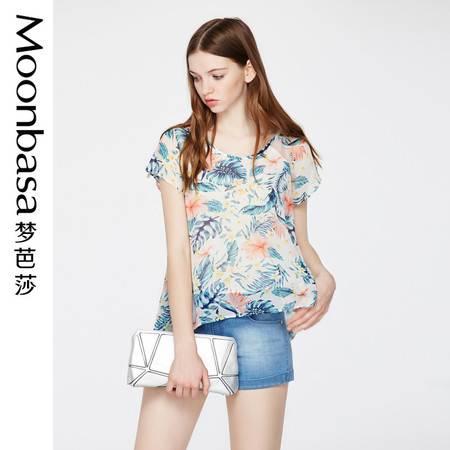 Moonbasa/梦芭莎时尚休闲度假风拼镂空网布圆领A摆雪纺印花衬衫女