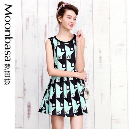 梦芭莎高腰修身显瘦无袖圆领抽象印花百褶连衣裙