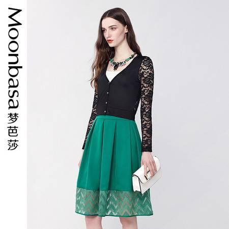 梦芭莎女装 春季爆款透视风法式蔷薇蕾丝针织开衫467313202