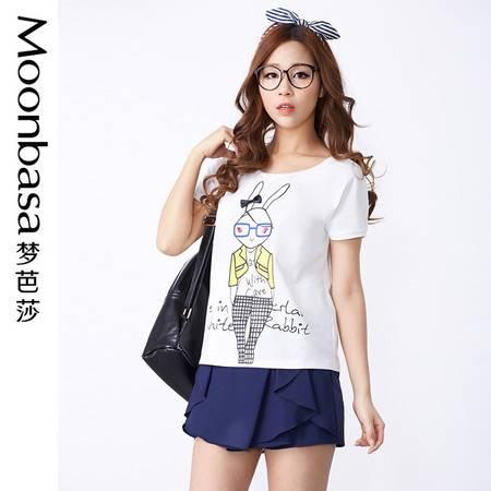 Moonbasa/梦芭莎日韩时尚兔子卡通弹力针织棉圆领短袖女T恤衫 夏