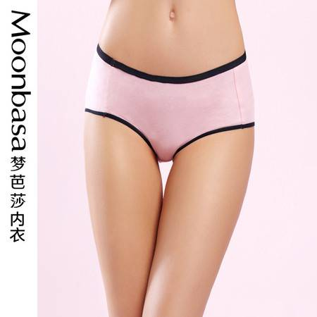 Moonbasa/梦芭莎樱桃派粉色印花棉质舒适低腰小平角女式少女内裤