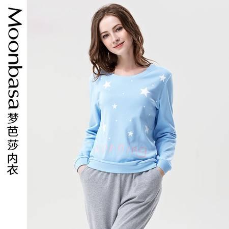 Moonbasa/梦芭莎星点印花纯棉亲肤套头圆领长袖长裤家居服套装