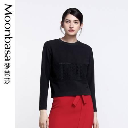 Moonbasa梦芭莎 欧美时尚女装蕾丝罗纹圆领长袖针织打底上衣新品
