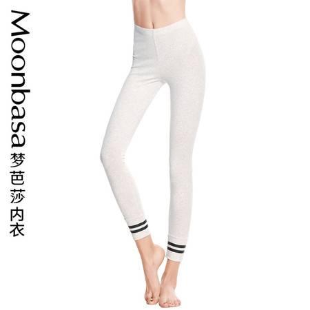 Moonbasa/梦芭莎个性活力针织棉弹力贴身舒适收脚口九分打底裤