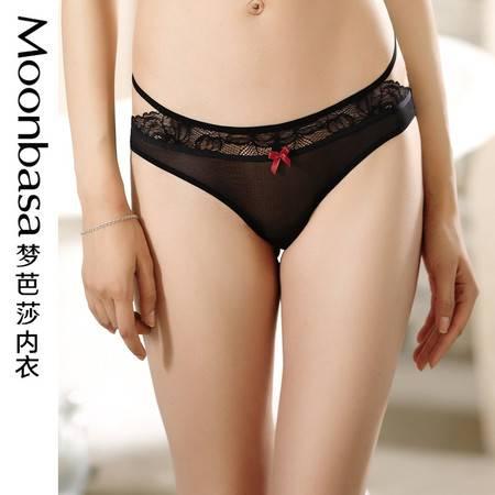 Moonbasa梦芭莎蕾丝性感腰带黑色纯棉里裆中低腰三角女式内裤新品