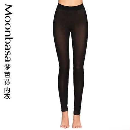 Moonbasa/梦芭莎时尚净色无痕加绒双层高弹收腹高腰塑身保暖裤