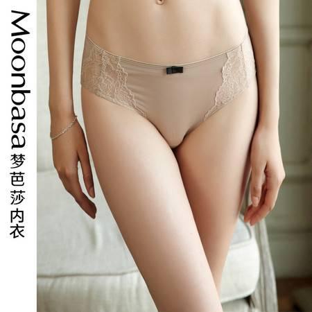 Moonbasa梦芭莎时尚无痕双拉蕾丝性感提臀百搭中腰三角女式内裤