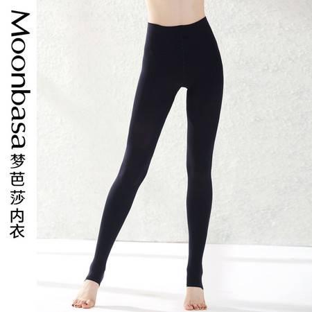 Moonbasa梦芭莎黑色百搭120D加裆包臀修身显瘦天鹅绒连体袜踩脚袜